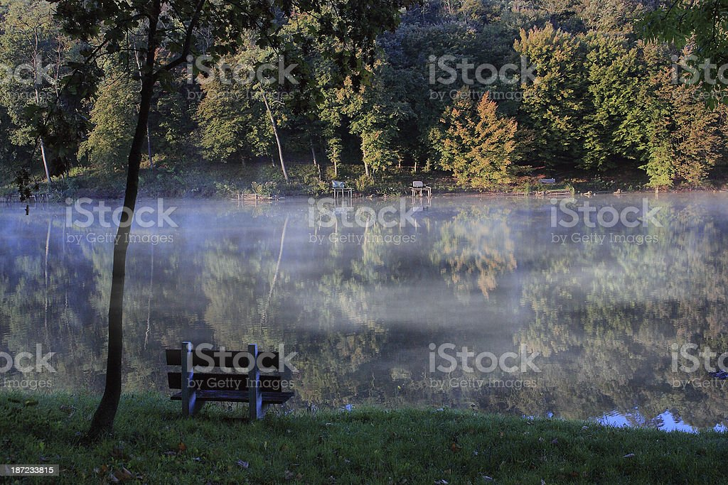 Natural autumn scene with lake royalty-free stock photo
