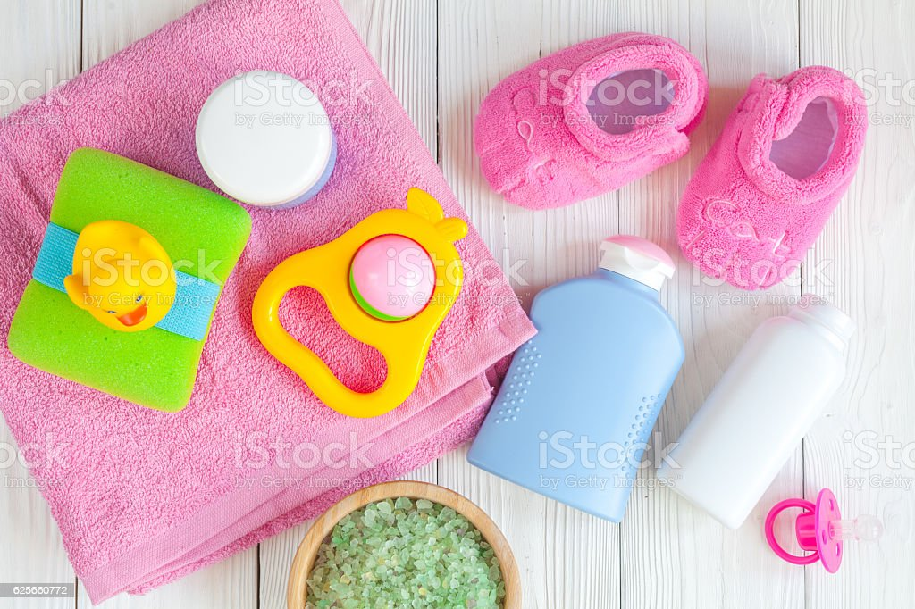 natural baby bath cosmetics with duck top view stock photo