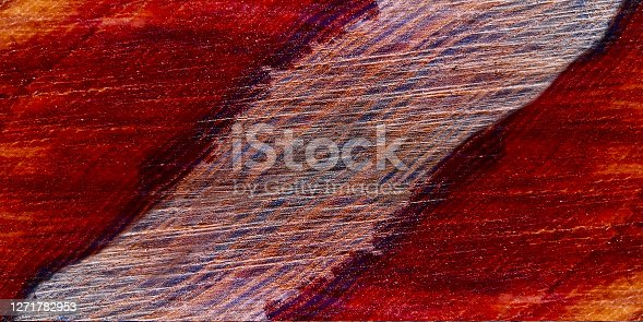 Natural background of colorful striped tree stump,with annual rings and saw traces in red-brown colors.Concept of bright autumn.Textured close up nature design template for text,card,blank.Copy space.