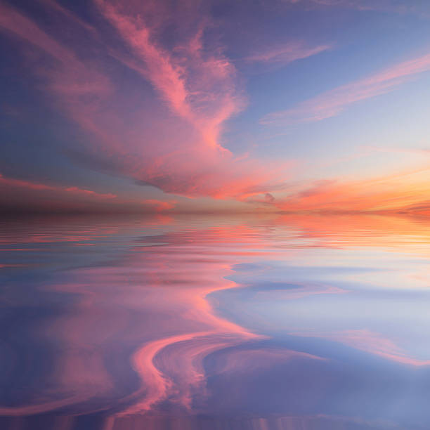 Natural background Natural background of the colorful sky and beautiful water reflection, During the time sunrise and sunset horizon over land stock pictures, royalty-free photos & images