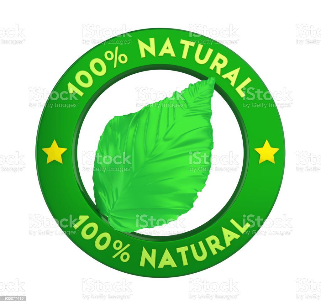 100% Natural Badge Label Isolated stock photo