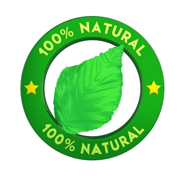 100 % natürliche badge label isoliert - matheblatt etiketten stock-fotos und bilder
