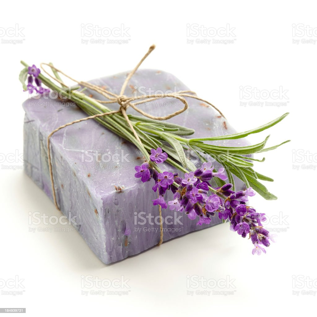 Natural bar soap and a piece of lavender stock photo