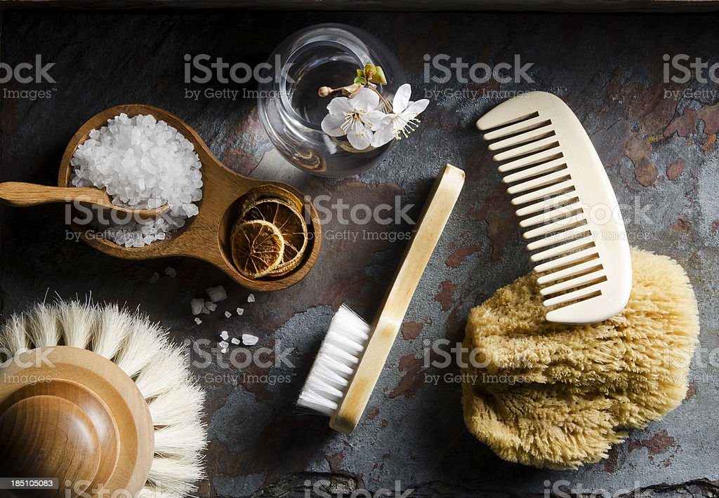 Natural bath accesories on gray background stock photo