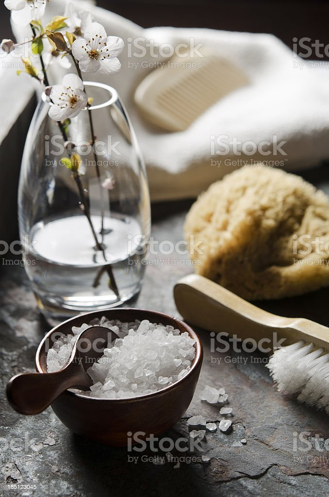 Natural Bath Accessories royalty-free stock photo