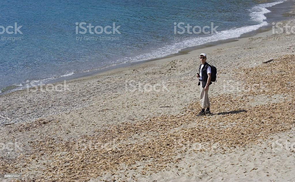 natural beach with a scientist royalty-free stock photo