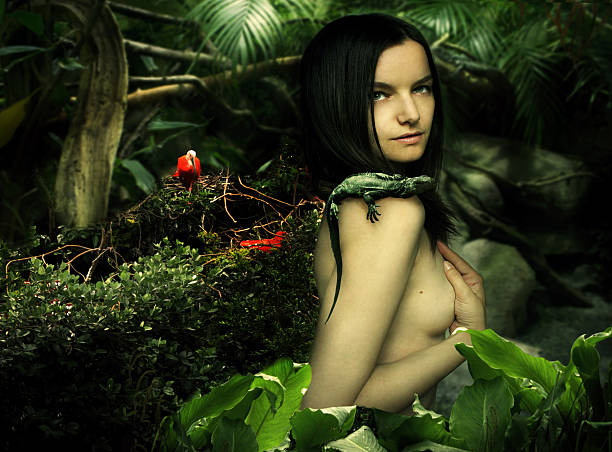 natural beauty fantasy - naked women with animals stock photos and pictures