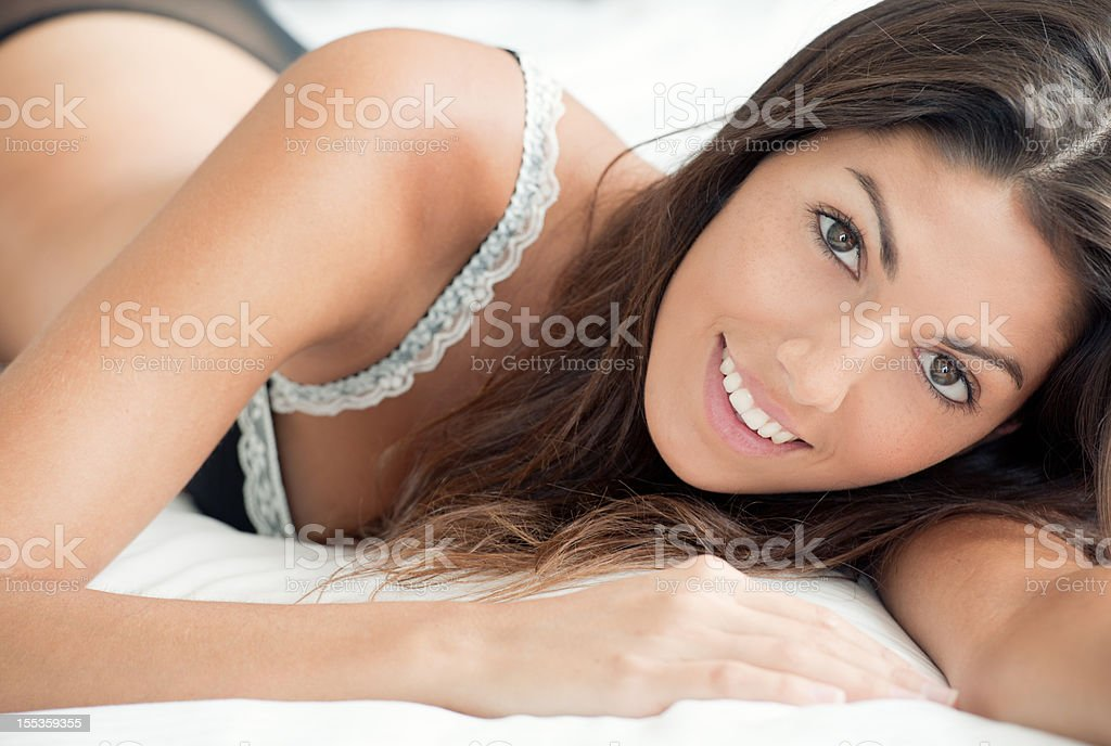 Natural Beauty lying in Bed, Good Morning Sunshine (XXXL) royalty-free stock photo