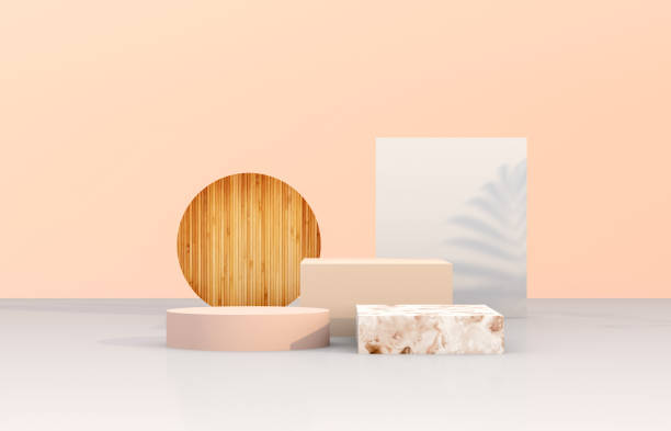 natural beauty podium backdrop with geometric shape for cosmetic product display. - innocence stock pictures, royalty-free photos & images