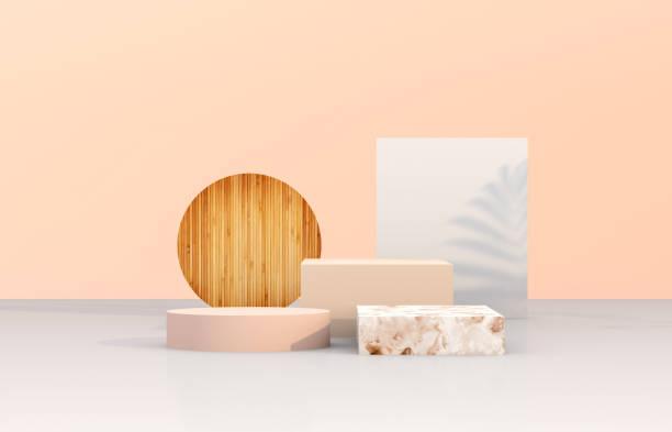 natuurlijke schoonheid podium achtergrond met geometrische vorm voor cosmetische product display. - onschuld stockfoto's en -beelden