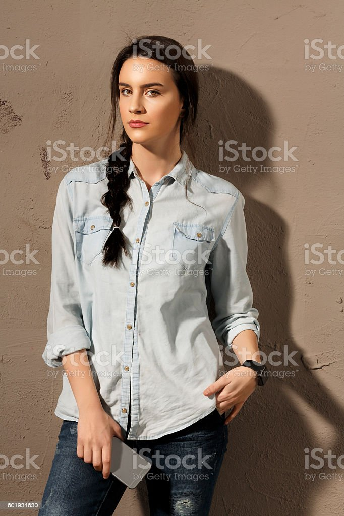 Natural Beauty Portrait  Beautiful Young Women Holding Smartphone Casual Lifestyles stock photo