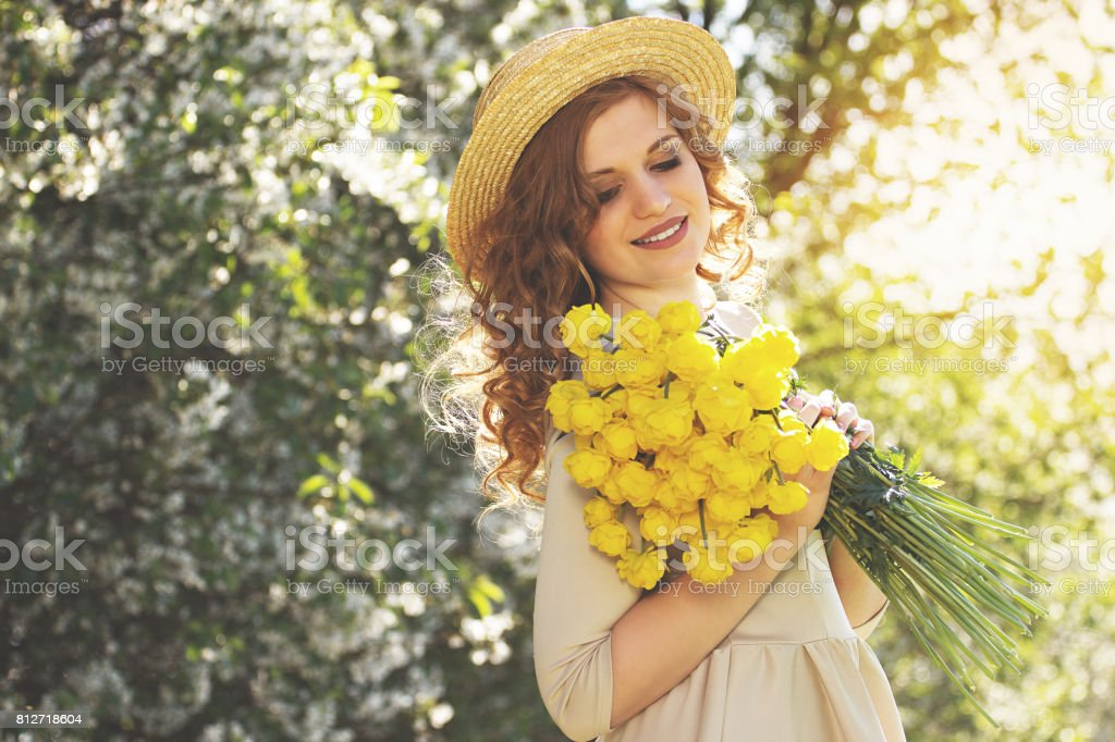 Natural beauty. Portrait of beautiful young woman in dress and hat keeping  eyes closed and 0666fc18a