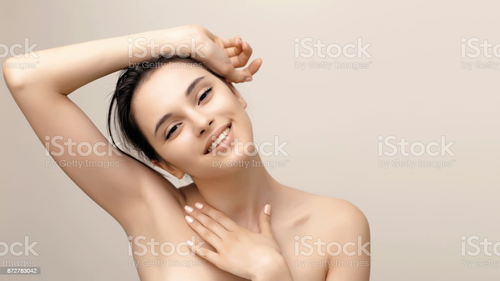 Natural beauty portrait of female face with perfect skin stock photo