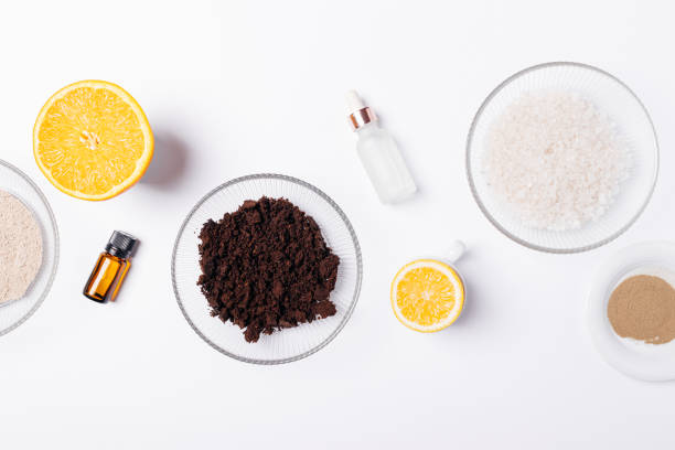 Natural beauty products for making homemade body scrub stock photo