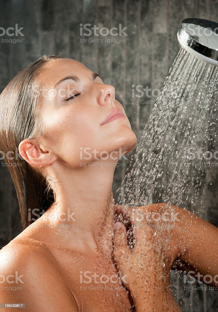Natural Beauty taking a hot Shower (XXXL) royalty-free stock photo