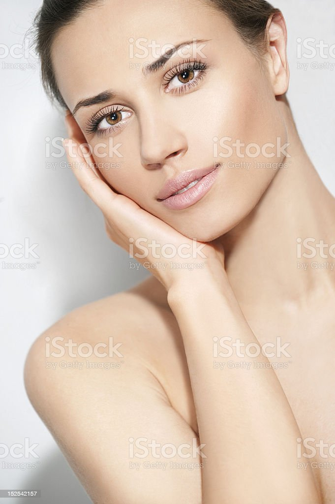 Natural beauty women portrait with one hand royalty-free stock photo