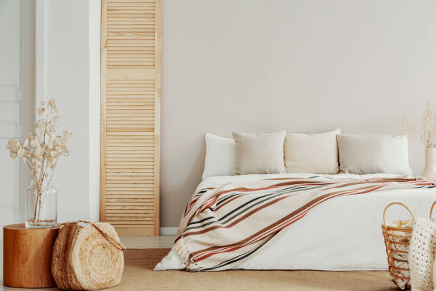 natural bedroom deign, copy space on empty wall - deign stock pictures, royalty-free photos & images