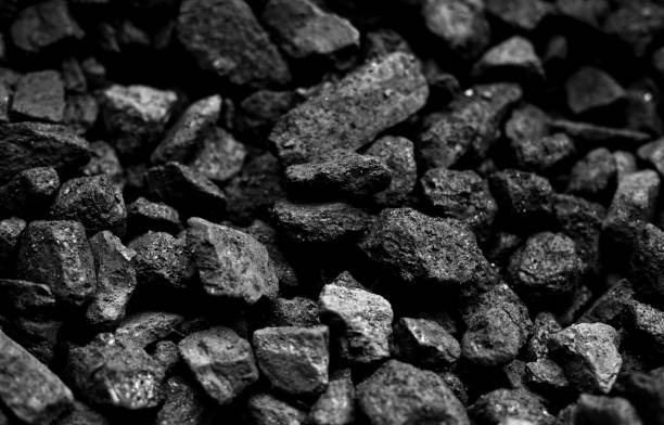 Natural black coals for background,It can be used as a fuel for coal industry stock photo