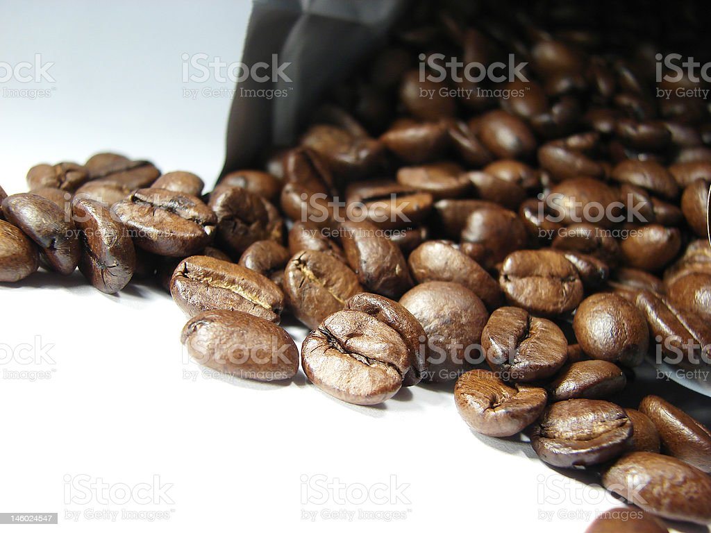 Natural black coffee beans 2 stock photo