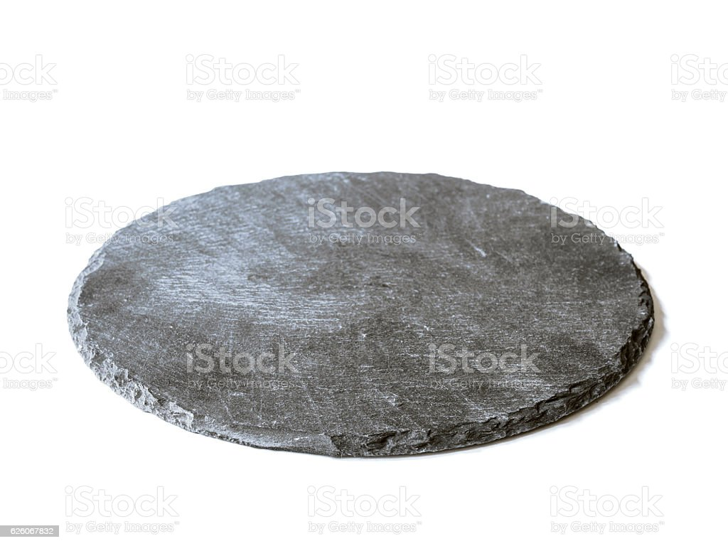 Natural black slate dish, isolated on a white background - foto de stock