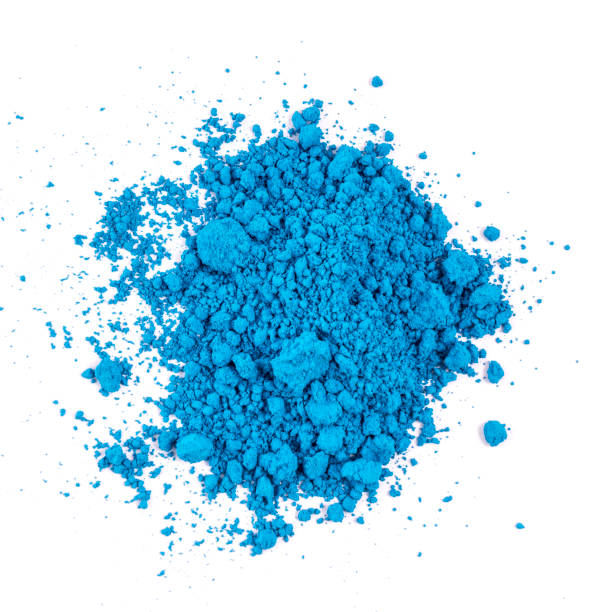 natural blue colored pigments in powder form - blue powder stock photos and pictures