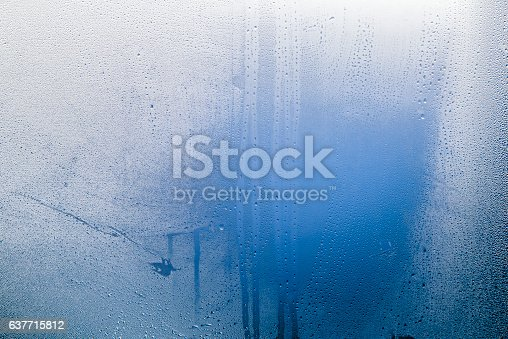 Close-up of water drops on a window, Natural water drops on glass, winter condensation