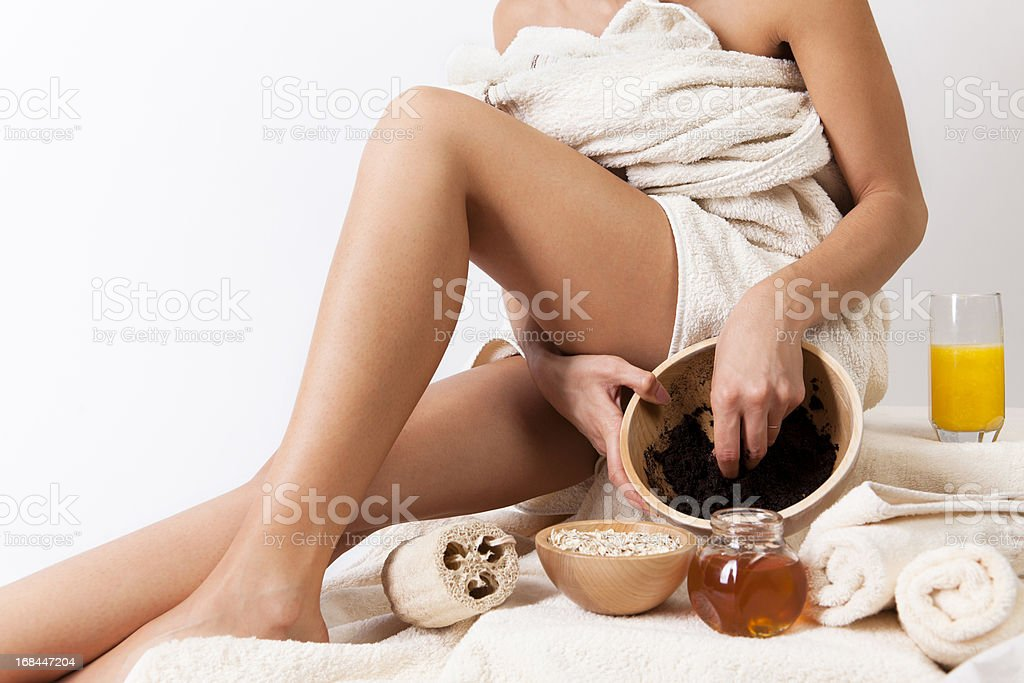 Natural body care with coffee scrub, cereals, honey. Organic. SPA. stock photo