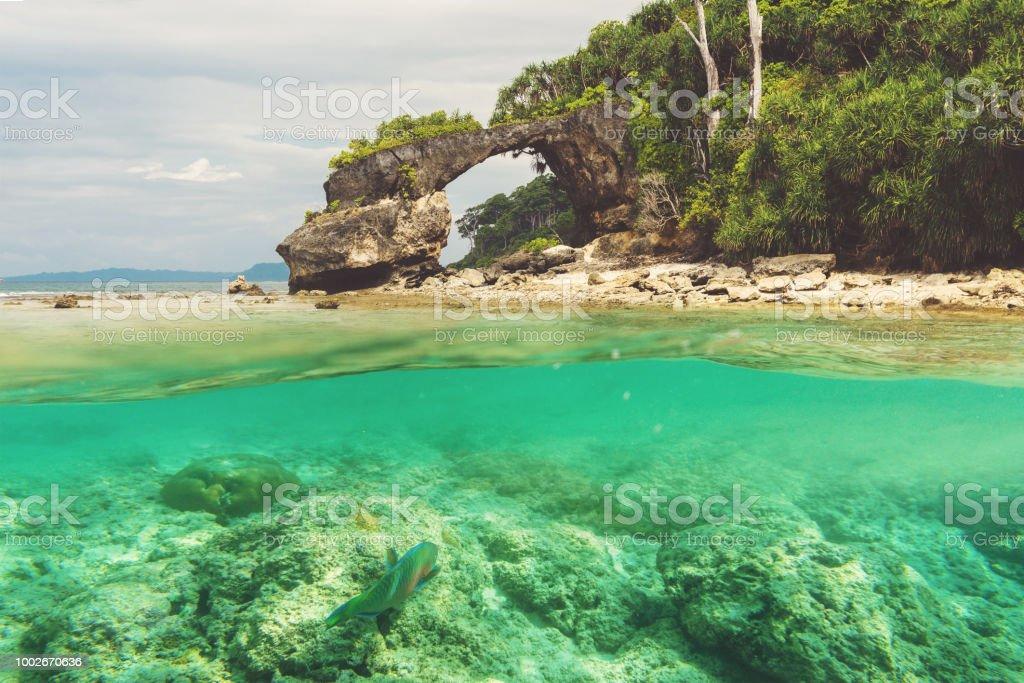 Natural bridge at Neil island, Andaman stock photo