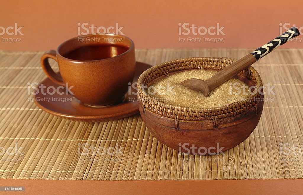 Natural Cane Sugar and Tea Set royalty-free stock photo