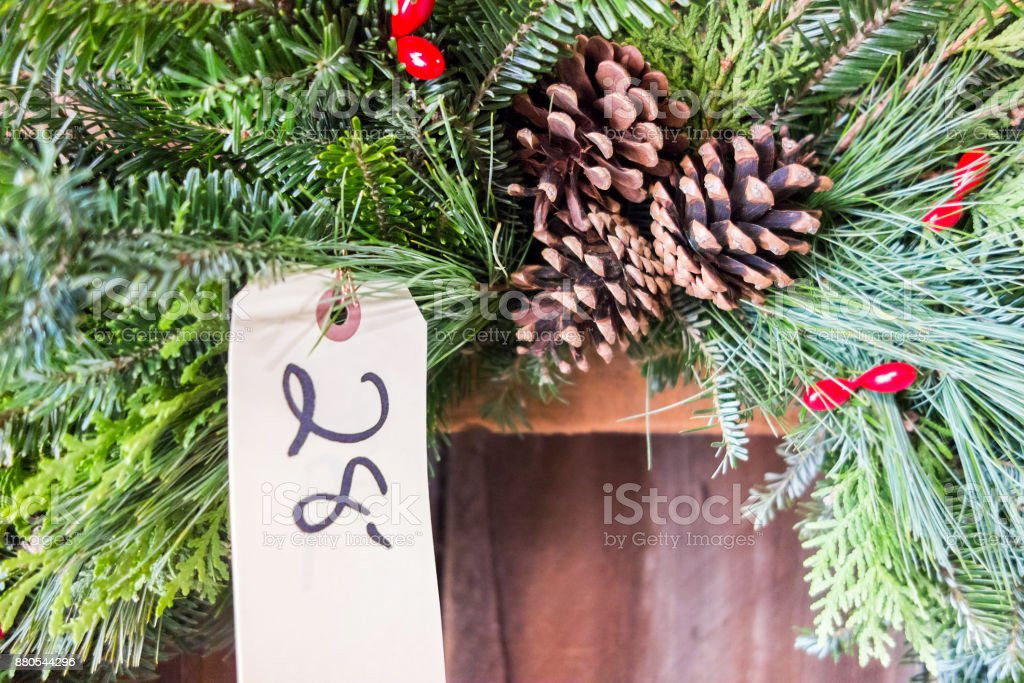 Natural Christmas Wreath with Price Tag stock photo