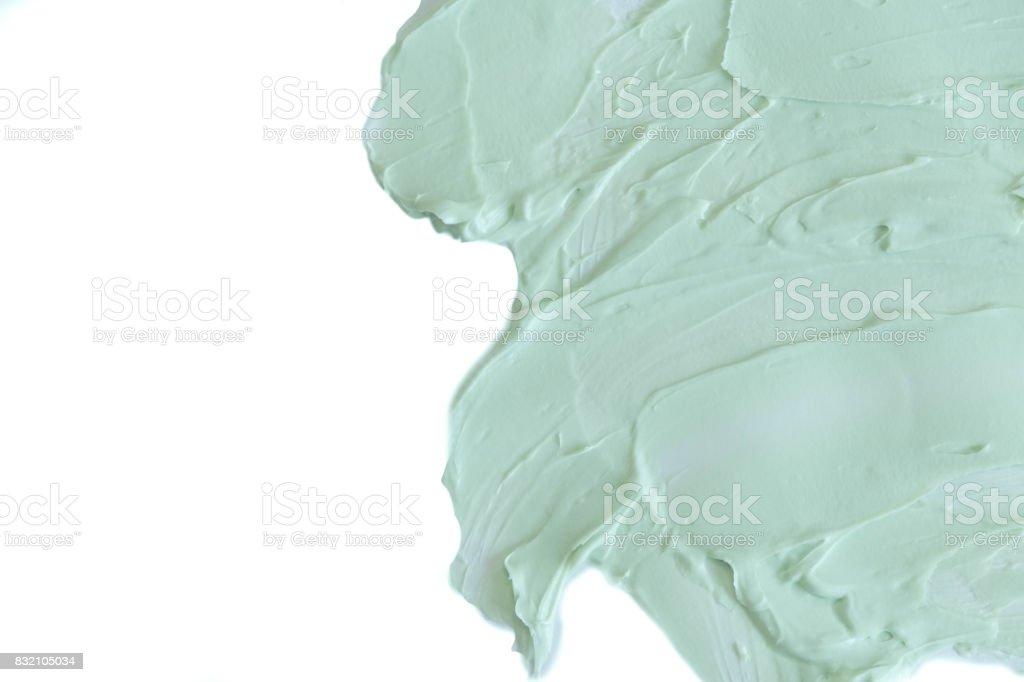 masque à l'argile naturelle pour visage et corps. Texture vert argile cosmétique se bouchent. une solution de fond Abstrait argile cosmétique - Photo