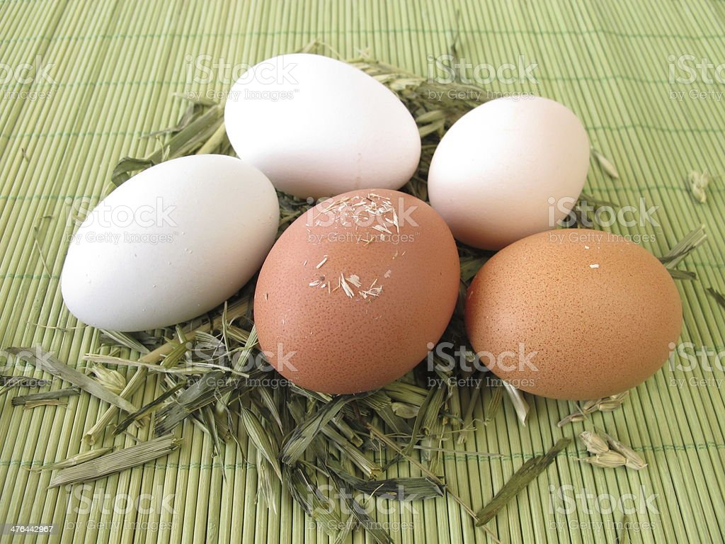 Natural colored eggs in straw royalty-free stock photo
