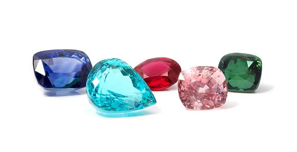 Natural Colored Gemstones - zdjęcia stockowe i więcej obrazów Białe tło