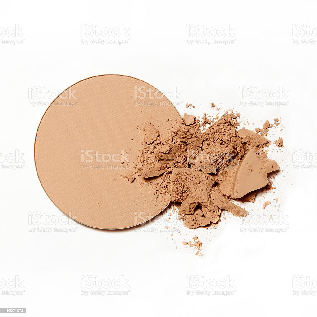 natural compact powder on white background stock photo
