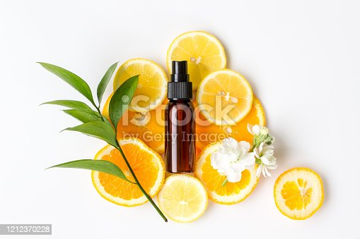 Cosmetics, lotion, natural, beauty, citrus, white background