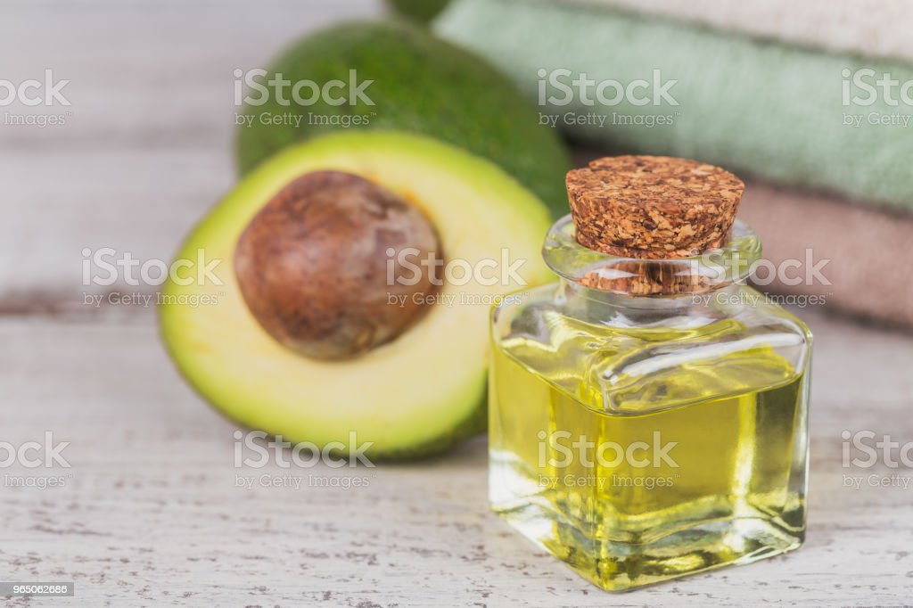 Natural cosmetic oil with avocado royalty-free stock photo
