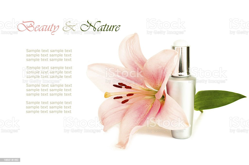 Natural cosmetic with flower royalty-free stock photo