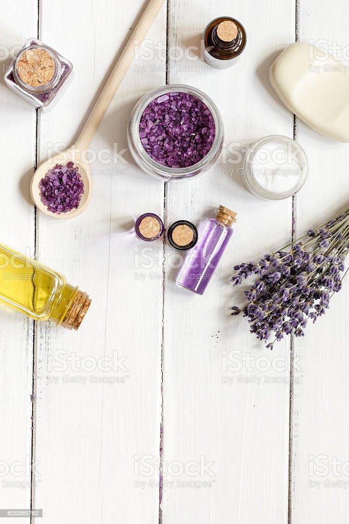 natural cosmetic with lavender top view zbiór zdjęć royalty-free