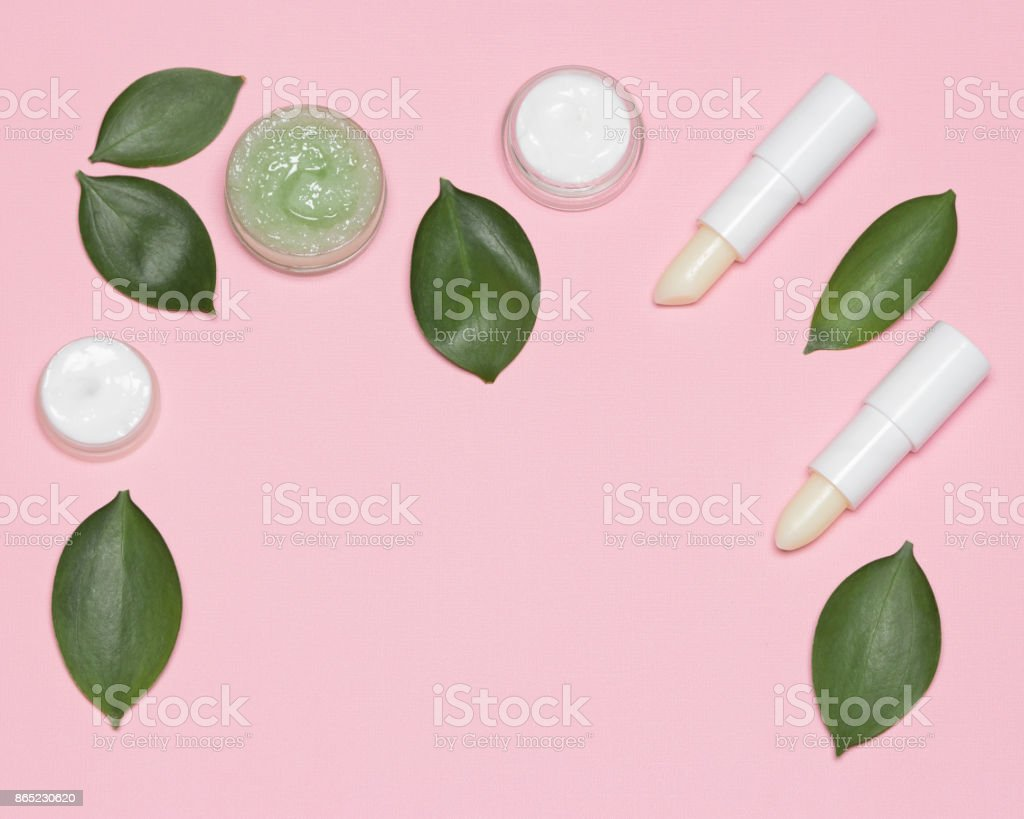 Natural cosmetics for lip skin care frame stock photo