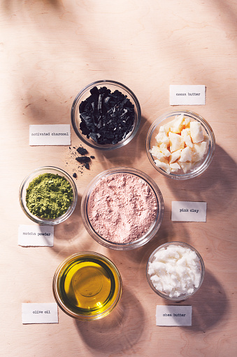Eco friendly natural homemade skincare ingredients with name labels.