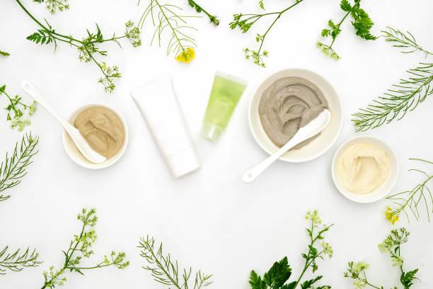 cosmétiques naturels sertie de différents types d'argiles cosmétiques et herbes - maquillage et cosmétiques photos et images de collection