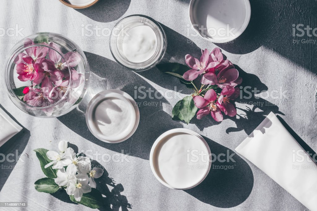 Natural cosmetics skin care. Composition of a jar of cream and...