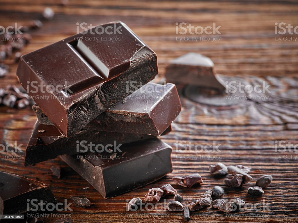 Natural dark chocolate pieces stock photo