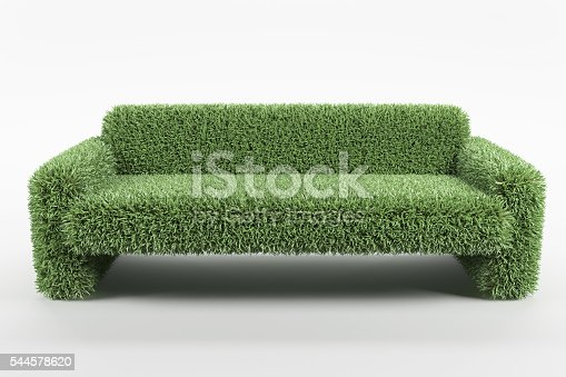 istock Natural design sofa made from grass on white background 544578620