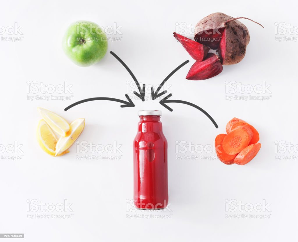 Natural detox beetroot smoothie ingredients isolated on white background stock photo