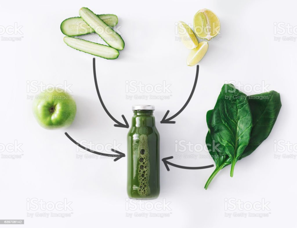 Natural detox green smoothie ingredients isolated on white background stock photo