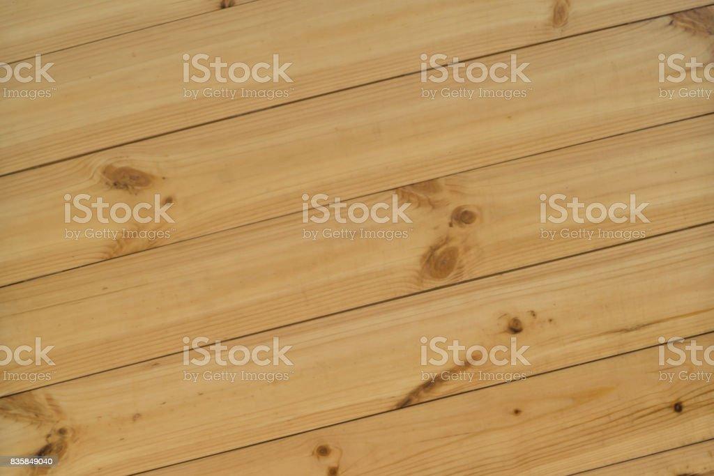 Natural diagonally wooden desk texture, Top View stock photo