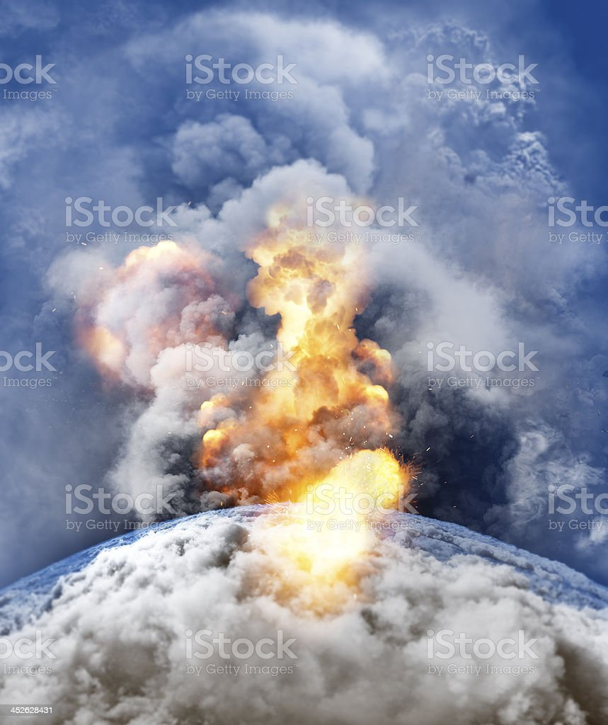 Natural disaster and destruction of planet Earth stock photo