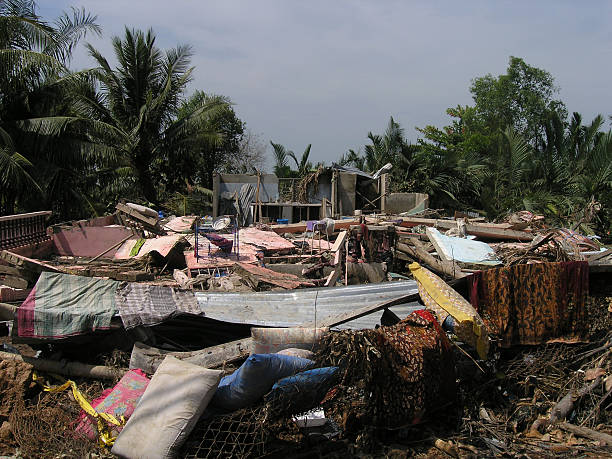 natural disaster leaves many homeless - indonesia stock photos and pictures