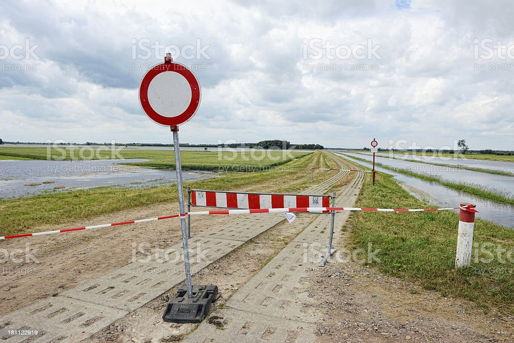 natural disaster of great flood 2013 in Brandenburg (Germany) stock photo